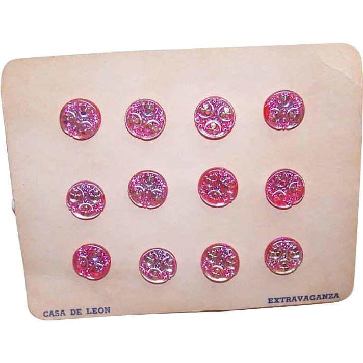 Set/12 Vintage CASA DE LEON Pink Iridescent Buttons on Original Card!