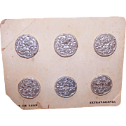 Casa de Leon VINTAGE BUTTONS on Original Card - 6 Silver Colored Florals!