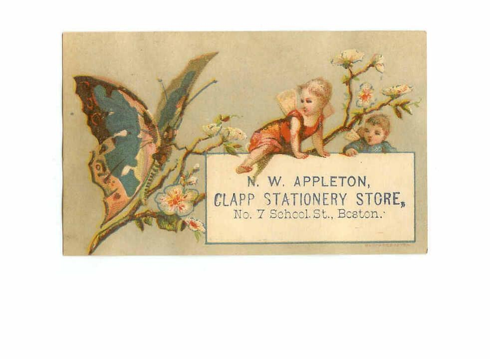 VICTORIAN Trade Card for N.W. Appleton, Boston, Mass - Fairies & Butterfly!