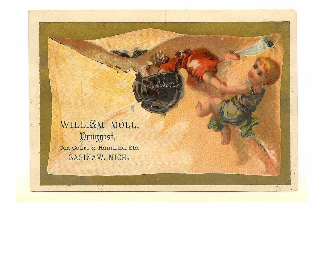 VICTORIAN Trade Card for William Moll, Druggist, Saginaw, Mich!