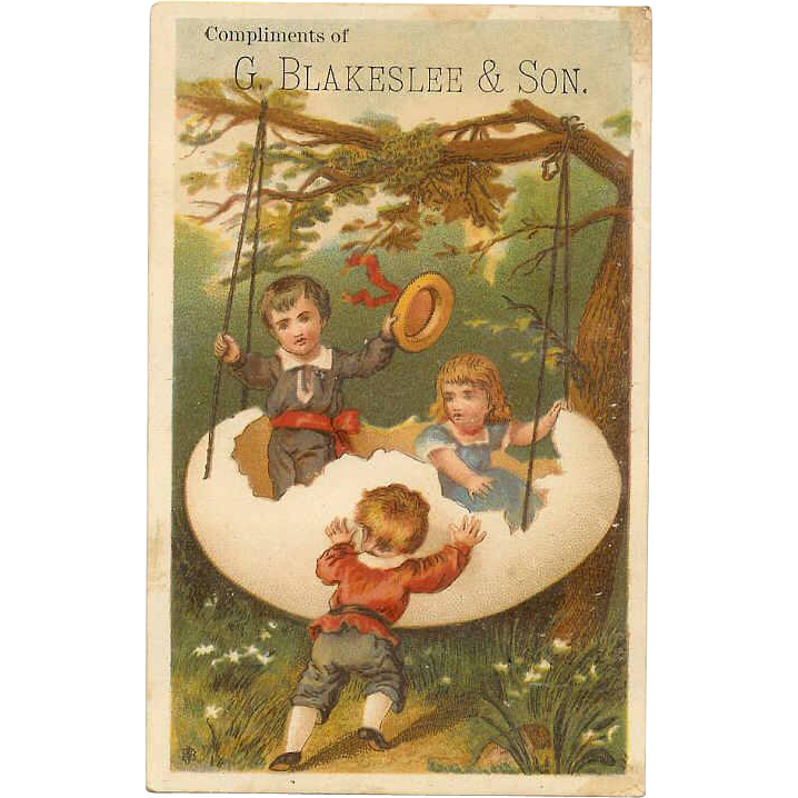 VICTORIAN Trade Card for G. Blakeslee & Son - Children Playing in an Egg Shaped Swing!