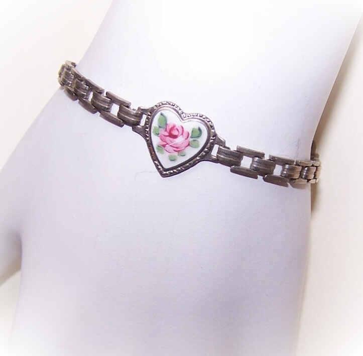 Vintage SILVERPLATE Charm Bracelet with Enamel Heart Center!