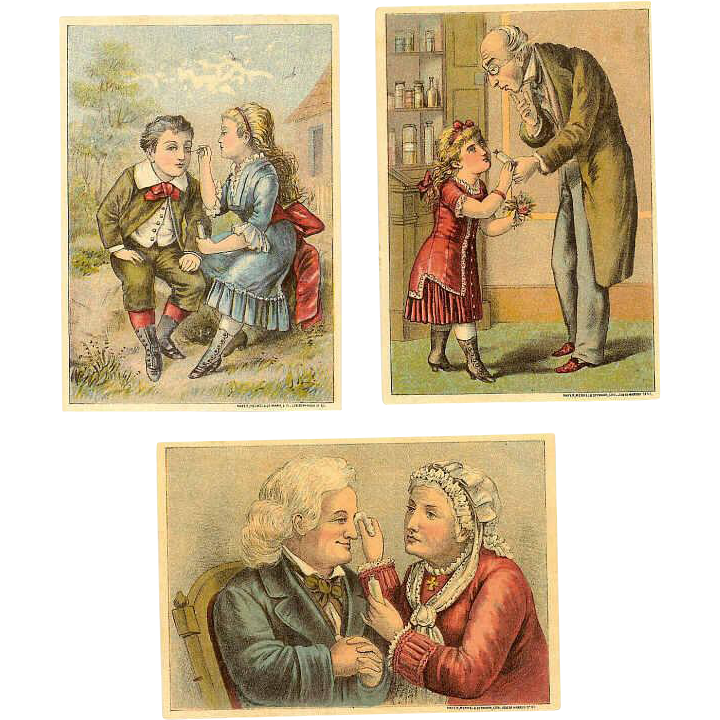 3 Diff VICTORIAN Tradecards for Dr. Isaac Thompson's Eye Water!