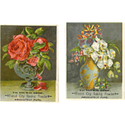 2 VICTORIAN Tradecards for Forest City Baking Powder - Lovely Floral Still Life!