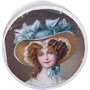 C.1890 FRENCH Bonbonniere or Pill Box with Chromolithograph!