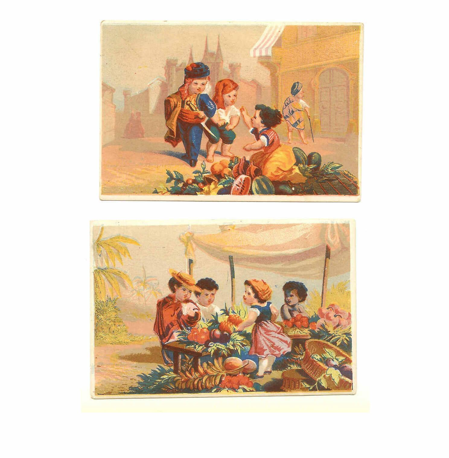 2 VICTORIAN Trade Cards - Dealing at the Farmers Market!