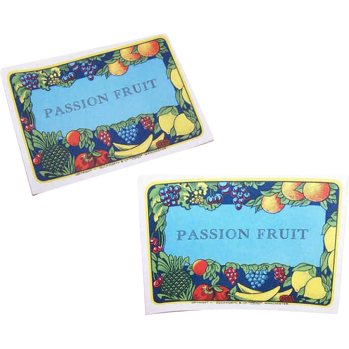 Group of C.1930 Fruit Labels - 1 Blank & 5 Passion Fruit!