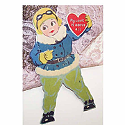 C.1930 Unused MECHANICAL Valentine - Female Pilot Proclaims My Love is Above All!