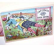 VICTORIAN Trade Card for J&P Coats Thread - Gulliver & The Lilliputians!
