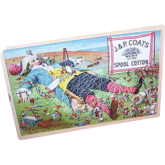 VICTORIAN Trade Card for J&P Coats Thread - Gulliver & The Lilliputians!