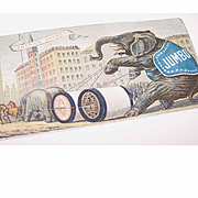 VICTORIAN Trade Card for Willemantic Linen Co featuring PT Barnum's JUMBO The Elephant!