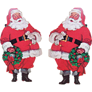 Pr LEFT & RIGHT Vintage Cardboard SANTA CLAUS Die Cut Wall Decorations!