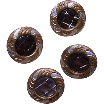 French Set/8 ANTIQUE VICTORIAN Gilt Metal, Enamel & Mother of Pearl Buttons!