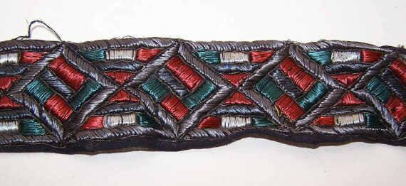 Remnant ART DECO Fabric Trim/Ribbon Trim in a Geometric Design - Vibrant Coloring!