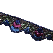 Remnant ART DECO Fabric Trim/Ribbon Trim in a Scalloped Design - Vibrant Blues!