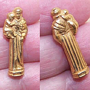 VINTAGE Religious Travel Icon of St. Anthony & Infant Jesus-Original Plastic Case!