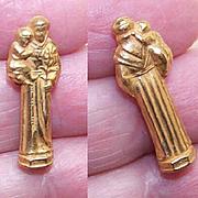 VINTAGE Religious Travel Icon of St. Anthony & Infant Jesus-Original Plastic Case!