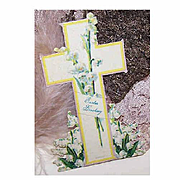 """VICTORIAN """"Easter Greeting"""" Greeting Card - Cross with Lily of Valley & Original Easel - Made in Germany!"""