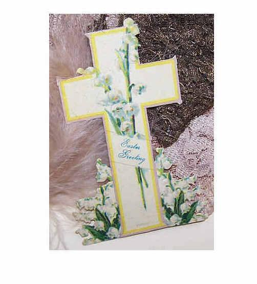 "VICTORIAN ""Easter Greeting"" Greeting Card - Cross with Lily of Valley & Original Easel - Made in Germany!"