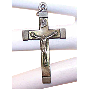 VINTAGE Silverplate and Celluloid Crucifix Pendant/Rosary Crucifix!