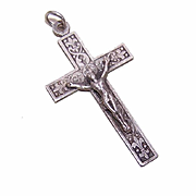 Vintage FRENCH SILVERPLATE Religious Crucifix Pendant, Cross Pendant, Rosary Crucifix!