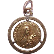 Vintage FRENCH Gold Filled Medal or Charm - Saint Theresa!