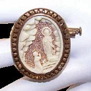 Vintage FRENCH Gold Tone Metal Souvenir Pin - Saint Bernadette & Virgin Mary at Lourdes!