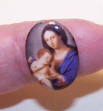 VINTAGE Kiln Fired Enamel Panel/Enamel Plaque - Madonna & Child!