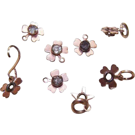 VINTAGE Collection of Gold Filled & Rhinestone Charms-Flowers & Stars!