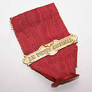 """Vintage FRENCH FIX Metal Banner on Ribbon - Reads """"Le Petit Journal""""!"""