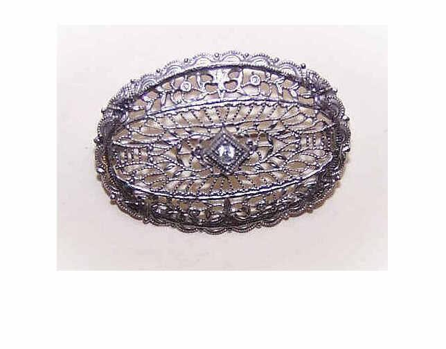 ART DECO Rhodium Metal & Glass Paste Oval Filigree Pin!