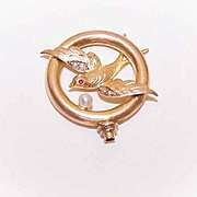 ANTIQUE EDWARDIAN Gold Filled, Natural Pearl & Garnet Hat Pin Top - Flying Swallow!