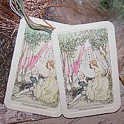 2 Unused ART DECO Dance Cards - Couple in Love Cover!