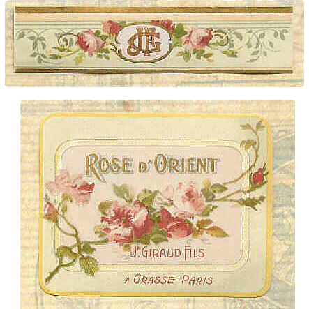 """C.1900 FRENCH Paper Cologne Label """"Rose D'Orient""""!"""