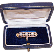 Antique Edwardian 14K Gold & Cultured Pearl Bar Pin in Original Box!