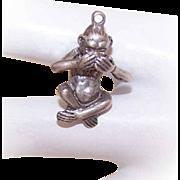 Vintage STERLING SILVER Charm - Monkey that Speaks No Evil!