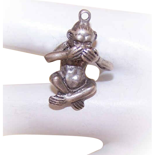 Vintage STERLING SILVER Charm - Monkey that Speaks No Evil!