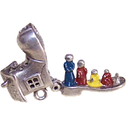 Vintage STERLING SILVER & Enamel Mechanical Charm - Old Woman Who Lived in a Shoe!