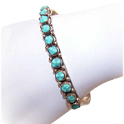 Vintage STERLING SILVER & Turquoise Cuff Bracelet - BH Zuni Signed!