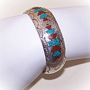 Vintage STERLING SILVER, Turquoise & Red Coral Inlay Cuff Bracelet!