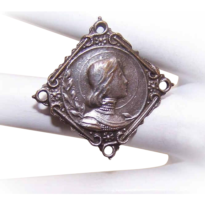 Vintage FRENCH Silverplate Pin - Saint Joan of Arc!