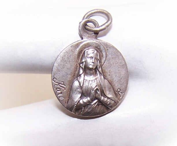 Vintage FRENCH SILVERPLATE Religious Medal/Pendant - Holy Virgin Mary/Saint Bernadette/Lourdes!