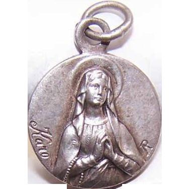 Vintage FRENCH SILVERPLATE Religious Medal/Pendant - Holy Virgin Mary/Saint Bernadette/Lourdes!