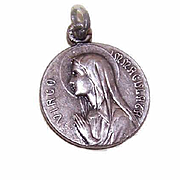 Vintage FRENCH SILVERPLATE Religious Medal/Pendant - Holy Virgin Mary!