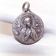 Vintage FRENCH SILVERPLATE Religious Medal - Virgin Mary, Saint Bernadette/Lourdes!