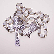 Vintage MOTHER OF PEARL & Silverplate Rosary from France!