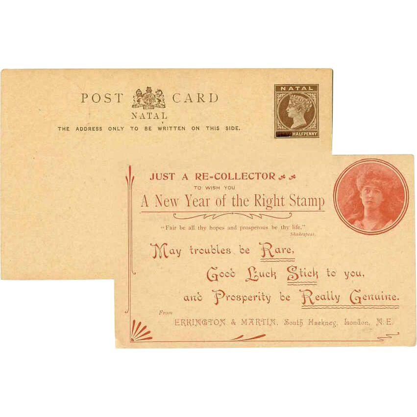Unused C.1890 NATAL Half Penny Postcard - Long Happy New Year Greeting!