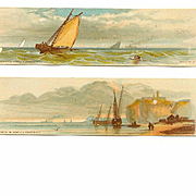 2 VICTORIAN Chromos - Scenes of the Sea with Ships!