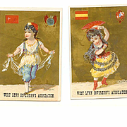 2 VICTORIAN Trade Cards for West Lynn Sovereign's Association - Ladies from Turkey & Spain!