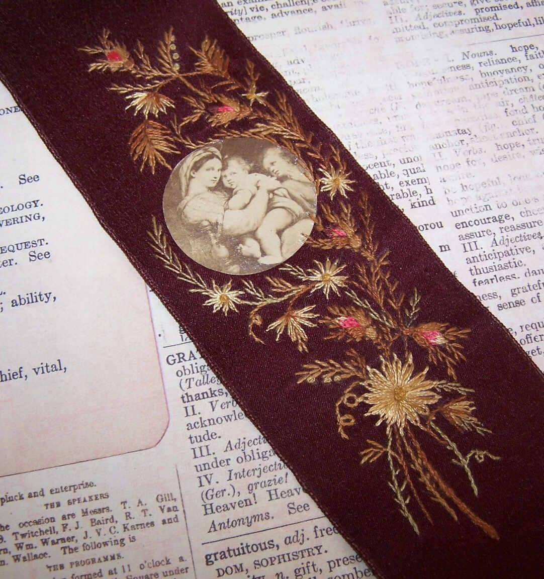 VICTORIAN Religious Bookmark - Burgundy Silk, Embroidery & Image of Madonna and Child!